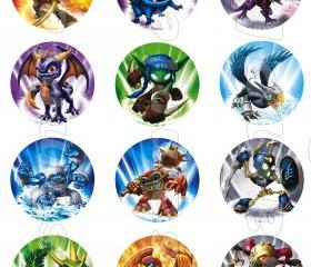 Skylanders Set of 12 2-Inch Round Personalized Stickers or Seals-Set 1