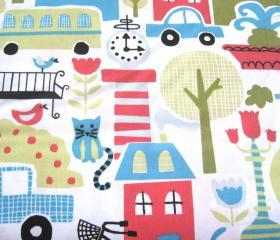 Organic Fabric City Scene (Cars, Houses, Flowers, Cats, Birds) - &quot;Busy City&quot; Taali Collection by Monaluna One Yard 