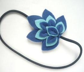 Felt headband blue and leaf light blue felt leaves
