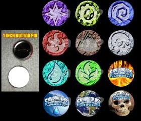 Skylanders Element Set of 12 1-Inch Buttons Make Great Party Favors