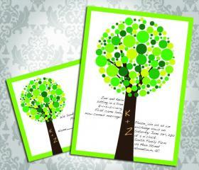 Wedding Invitation - Bubble Tree - Party Invitation and RSVP - Custom