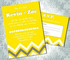 Wedding Invitation - Zig Zag Chevron - Party Invitation and RSVP