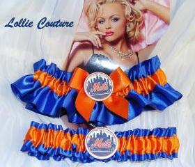 NY Mets Garter Set - Bridal, Wedding, Sports Fan, NY teams
