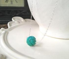 Unique Carved Turquoise Ball on Sterling Silver adjustable chain 16-18'
