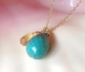 "Turquoise drop paired with Lemon Quartz on adjustable 16-18"" Gold Filled Chain"