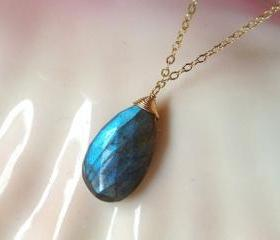 Stunning Labradorite Pendant on Gold Chain