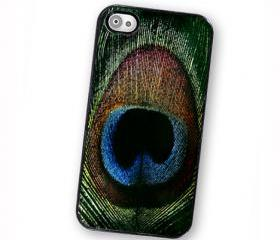 Peacock Feather iPhone Case, Fits iPhone 4 and iPhone 4S - BlackTrim