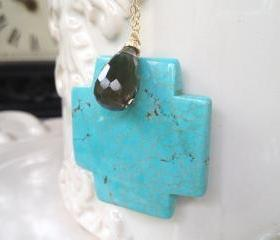 Large Turquoise Cross Pendant on Long 28' Gold Filled Chain