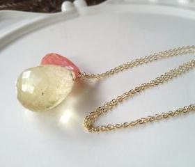 Large Lemon Quartz paired with Coral Quartz on long 28' Gold Filled chain.