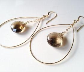 Smoky Quartz Circle Drop Earrings on Gold Filled Earrings.
