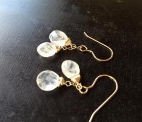 Handmade Moonstone Double Drop Earrings