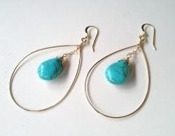 Turquoise Circle Drop Gold Filled Earrings