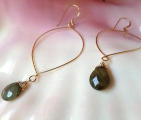 Handmade Illuminating Labradorite Drop Gold Filled Hoop Earrings