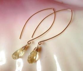 Delicate Lemon Quartz Drop Gold Filled Earrings
