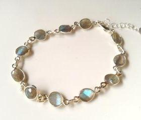 Labradorite on Sterling Silver 7-8' adjustable Bracelet. Labradorite stones are 1/4' in size