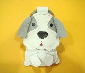 LuLu the Shih Tzu leather keychain ( Grey / White )