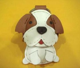 Mike the Shih Tzu leather keychain ( Brown / White )