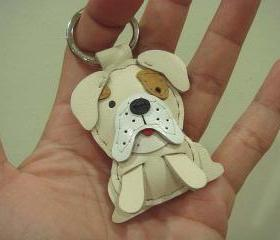 Sam the English Bulldog Leather Charm ( Cream )