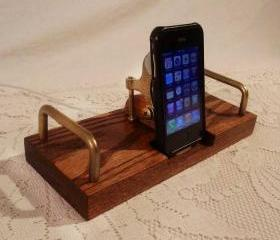 iPhone - iPod Dock -Charger and Sync Dock Station - Oak - Brass style V1 EX Model..iDock iPhone 4