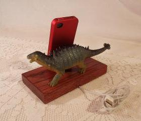 iPhone - iPod Dock -Charger and Sync Station - Oak - Big Spiked Green Dino - Scary - One of a Kind - Dinosaur