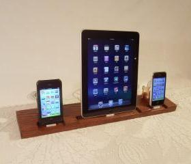 TRIPLE Unit - iPad - iPhone - iPod - Dock - Sync and Charging iDock Station- Custom Built Oak Model..