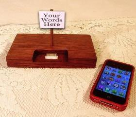 Personalized iPhone - iPod Sign Dock - Charger and Sync Station - Oak - Print Anything you Wish..