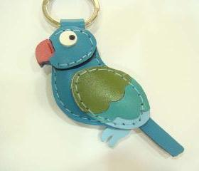 Goji the Indian Ringneck Parakeet leather keychain ( Blue )
