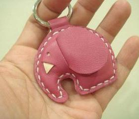 Laura the Elephant Leather Keychain ( Dark Pink )