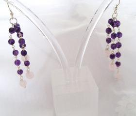 Amethyst / Rose Quartz Earrings Sterling Silver Drop style handmade jewelry