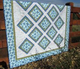 Handmade Quilt Blue Floral