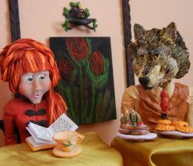 5 art postcards - In the Forest Cafe - wicked wolf fairytale art