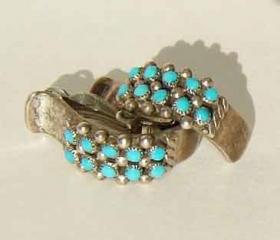 Vintage Zuni Indian Earrings 60s Sterling Silver & Turquoise Petit Point Cluster Earrings