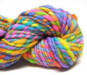Beyond super bulky two ply rainbow yarn in handspun, hand dyed merino wool - 30 yards, 2.7 ounces/ 76 grams 