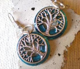 Tree of Life Earrings: Peacock Blue