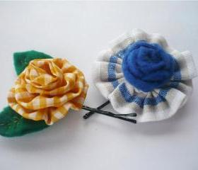 Felt and Fabric Bobby pin - Set of 2