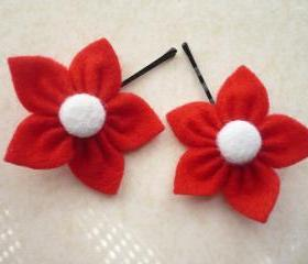 Red Felt Flower, Hair Pins - Set of 2