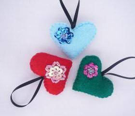 Heart, Felt Christmas Ornament - Set of 3