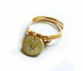 Dainty Initial Wire Wrapped Ring Metal Custom Hand Stamped Personalized Brass Ring Jewelry