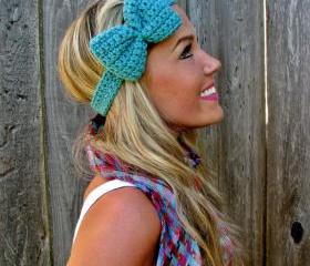 Tahitian Turquoise Bow Headband with Natural Vegan Coconut Shell Buttons - Adjustable