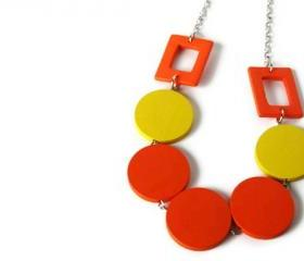Neon Jewelry in Citrus Colors. Big Chunky Necklace in Bright Yellow and Neon Orange. Summer Fashion