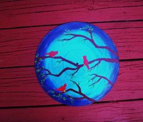 Red Birds in Tree Recycled Record Wall hang