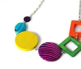 Rainbow Chunky Necklace, Geometric Jewelry, Wood Necklace in Bright Colors