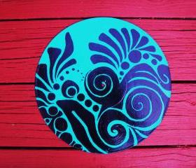 Retro Blue and Black Recycled Record Original Wall Art