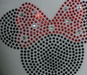 5' red Minnie Mouse rhinestone iron on transfer for Disney t-shirt