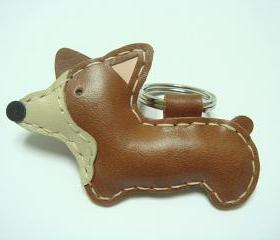 Nana the Corgi leather keychain ( Brown )
