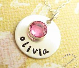 Hand stamped jewelry: custom engraved with name sterling silver disc
