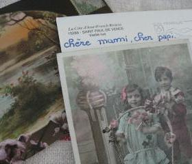 Vintage French Postcards Mix of 3 Papier