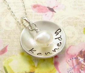 Hand stamped necklace: custom made name engraved silver jewelry pendant