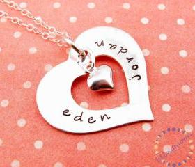 Silver heart necklace: HAND STAMPED Personalized Jewelry