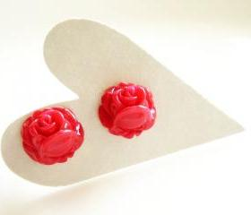 Spicy Red Rose Buds Resin Stud Earrings